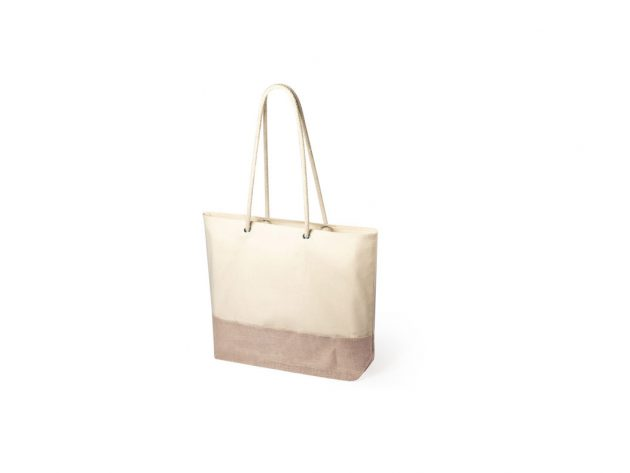 Τσάντα από φυσική γιούτα και βαμβάκι