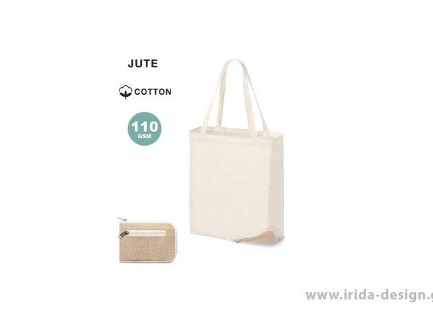 Αναδιπλούμενη Τσάντα από Βαμβάκι και Γιούτα